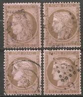 France - Cérès - N°58 Oblitéré - 4 Exemplaires - 1871-1875 Cérès