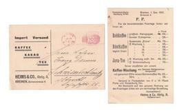 IB54    Germany 1921 - Heims & CO, Kaffee Kakao Tee, Coffee, Cocoa, Tea, Café, Cacao, Thé - Ernährung