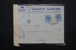 ESPAGNE - Enveloppe Commerciale En Recommandé De Valencia Pour Paris En 1919 Avec Contrôle Postal - L 59260 - 1889-1931 Royaume: Alphonse XIII