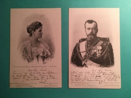 2 CPA De 1901  Tzar Nicolas II Et Impératrice De Russie Alexandra Feodorovna Photographié à Peterhof En 1901 - Familles Royales