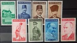 TURQUIE TURKEY N° 922 à 929 COTE 13,50 € 1939 NEUFS ** MNH (N° 924 NEUF * MH) Anniver. De La Mort Du Président ATATURK - 1921-... République