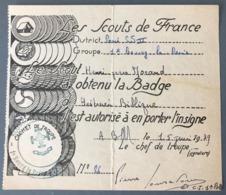 Scoutisme - Diplôme D'obtention De Badge 1939 - (B1652) - Diploma & School Reports