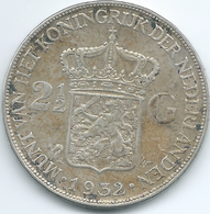 Netherlands - Wilhelmina - 1932 - 2½ Gulden - KM165 - 2 1/2 Gulden