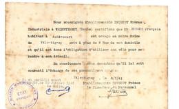 B2  08 07 1941 Demande De Pneus De Vélo Pour Un Employé Des Usines Peugeot - Oorlog 1939-45