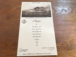 Menu Cie De Navigation Fraissinet Paquebot île De Beauté Croisière En Méditerranée 3 Avril 1934 - Menu