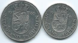 Netherlands - Beatrix - 1980 - 1 & 2½ Gulden - Accession (KMs 200 & 201) - [ 3] 1815-… : Royaume Des Pays-Bas