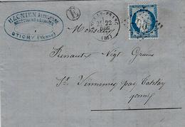 1873- Lettre D'ANCY-LE-FRANC ( Yonne ) Cad T16 Affr. N°60 Oblit. G C 90 + E Boite Rurale De STIGNY - 1849-1876: Klassieke Periode