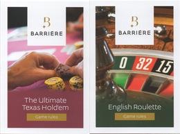Casino S Barrière France : Lot De 2 Guides Poche De La Règle Du Jeu (English Version) - Advertising