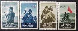 TURQUIE TURKEY N° 1164 à 1167 COTE 5,50 € 1952 NEUFS ** MNH LEGION TURQUE EN COREE - 1921-... République