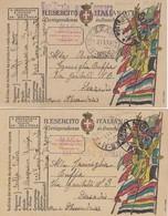 """9819-N°. 4 PEZZI (TRE FRANCHIGIE E UNA CARTOLINA ILLUSTRATA)- 1° GUERRA-""""POSTA MILITARE 37"""" - 1917 - Marcophilia"""