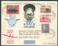 Enveloppe Commémorative 1er BELGIQUE CONGO 100e LIAISON AERIENNE 20 Nov. 1938 Avec Affr. Mixte Sc BRUXELLES 1 VersPont à - Luchtpost