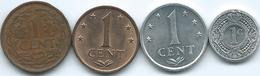 Netherlands Antilles - 1 Cent - 1959 (KM1) 1970 (KM8) 1984 (KM8a) & 1989 (KM32) - Antille Olandesi