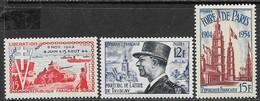France 1954  Sc#716-8  3 Diff Commems  MLH   2016 Scott Value $4.05 - Unused Stamps