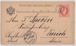 KIRCHBICHL TIROL CORRESPONDENZ-KARTE 1880 ZÜRICH - 1850-1918 Imperium