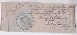 Reçu Cachet Consulat D'Haïti à Bordeaux 1880 - Cachets Généralité