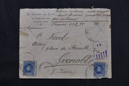 ESPAGNE - Enveloppe Commerciale De Barcelone En Recommandé Pour La France En 1901, Affranchissement Incomplet - L 59316 - 1889-1931 Royaume: Alphonse XIII