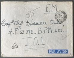 Madagascar, Lettre FM 1950, Taxé Pour Le BPM 402 (Saigon, Indochine) - (B1960) - Covers & Documents