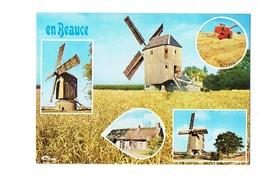 Cpm - Moulin De Ouarville - En Beauce - CHAUMIÈRE MOULIN MOISSONNEUSE-BATTEUSE Moisson Blé - Otros Municipios