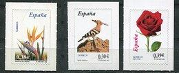 Espagne ** N° 3822 - 3902 - 3903 - Fleurs : Strelitzia, Rose - Oiseau : Huppe - 2001-10 Nuevos & Fijasellos