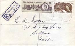 Gran Bretagna 1965 - Storia Postale, Elisabetta, Parlamento Di Monfort, 2v - 1952-.... (Elisabetta II)