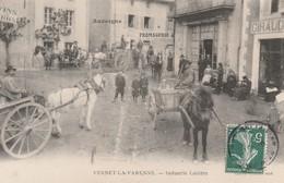 CPA:VERNET LA VARENNE (63) ATTELAGE FROMAGERIE INDUSTRIE LAITIÈRE ANIMÉE..ÉCRITE - France
