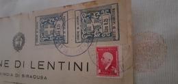 MARCHE DA BOLLO COMUNE DI LENTINI COPPIA 0,25 LIRE 1944 SU FRAMMENTO - 1900-44 Vittorio Emanuele III