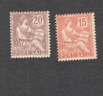 PORT SAID 1909-20:Yvert 26-7mh* - Porto Said (1899-1931)