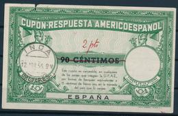 ESPANA  -   1955   ,  Type II  -  90 CENTIMOS / 2 Pts  -   COUPON-RESPUSTA AMERICOESPANOL Reply Coupon Reponse  -  0261 - Non Classés