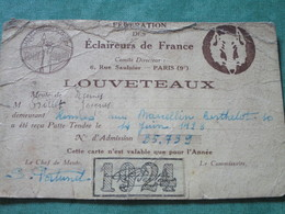 Carte D'adhésion à La FEDERATION Des ECLAIREURS De FRANCE - LOUVETEAUX - Scoutisme