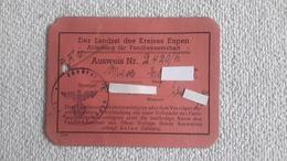 Kleine Karte Ausweis Abteilung Für Familienunterhalt Eupen - 1939-45