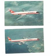 2 Different AIR CANADA, Canada, Douglas DC-8 & DC-9, Old Chrome Postcards - 1946-....: Moderne