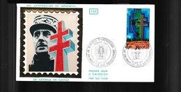 """1941  F.D.C Colombey Les Deux Eglises 18 06 & Paris 1977 5e Anniversaire Du Mémorial Du """"Général De Gaulle"""" 1777 - 1970-1979"""