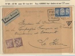 LETTRE D'ALGER POUR LE HAVRE AVEC VARIETE SUR LE TIMBRE - Algeria (1924-1962)