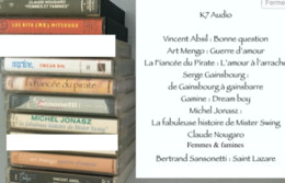 10 K7 Audio : V. Absil-Art Mengo-Fiancée Du Pirate-Gainsbourg-Gamine-M. Jonasz-C. Nougaro-Rita Mitsouko-Sansonetti-P. Sc - Audio Tapes