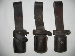 Lot 3x Porte Baïonnette En Cuir Pour Baïonnette Mauser - Armes Blanches