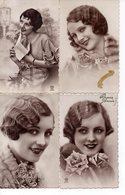 Lot 4 CPA Fantaisie - Femme - Portrait - Femmes
