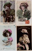 Lot 4 CPA Fantaisie - Femme - Portrait - Chapeau - Femmes