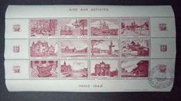FRANCE 1942 Feuille Complète Neuf** - MNH - Vignette Aide Aux Artistes - Blocchi & Foglietti