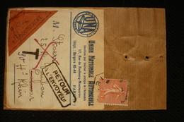 Petite Lettre Recommandée  85c Semeuse  Union Nationale Automobile Paris 48 A 1928 - Marcophilie (Lettres)