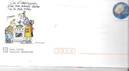 5 Enveloppes Prêtes à Poster,  Illustrées L'euro En Humour - Entiers Postaux