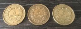 Lot 3 Pièces De 5 Francs 1940/1945/1946 - France
