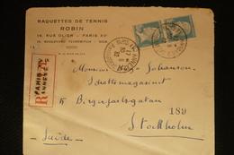 Lettre Vers Usa Pasteur Raquettes Tennis Robin Paris Annexe 2 Rue De Langeac 1932 - 1922-26 Pasteur