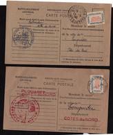 2 Cartes Avec Timbres Ravitaillement De TREBEURDEN Et PLOUARET 1946 Pour Tonquédec - Covers & Documents