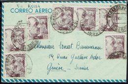 Espagne - 1943 - Affr. Mutiple Franco Sur Enveloppe De Miranda De Ebro, Pour Genève ,via Roma - Censure De Madrid - - 1931-Aujourd'hui: II. République - ....Juan Carlos I