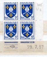 FRANCE N° 1005 5F OUTREMER ET JAUNE  BLASON DE SAINTONGE COIN DATE DU 29.7.1957 NEUF  SANS  CHARNIERE - Coins Datés