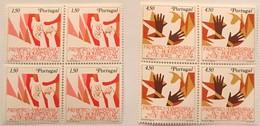 """POR#2860-Set Of 2 Blocks Of 4 MNH Stamps - """"1. Aniversário Do Movimento De 25 De Abril"""" - Portugal - 1975 - Blocs-feuillets"""