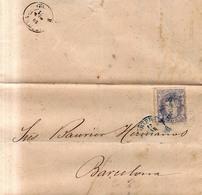 Año 1870 Edifil 107 50m Sellos Efigie Carta Matasellos Azul Oviedo , Jose Gomez E Hijos - 1868-70 Gobierno Provisional