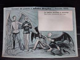 AFFAIRE DREYFUS ANTIJUDAICA ANTISEMITISME LA LUMIERE TERRIFIANT LE MENSONGE CARTE 1899  UN COIN PLIE - Events