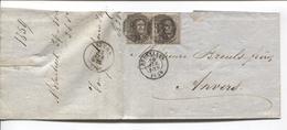 REF1083/ TP 6(2) S/LAC Molenbeek St.Jean Van Goethem C.BXL 26/4/1859 Obl.à Barres 24 > Anvers C.d'arrivée - Marcophilie