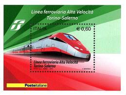 93929) ITALIA-Completamento Della Linea Ferroviaria Ad Alta Velocità Torino-Salerno - BLOCCO FOGLIETTO - 2 Ottobre-MNH** - Blocks & Sheetlets